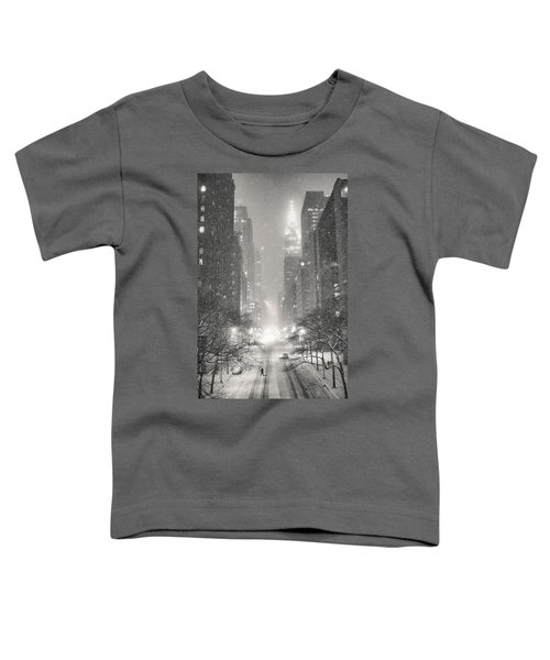 New York City - Winter Night Overlooking The Chrysler Building Toddler T-Shirt by Vivienne Gucwa