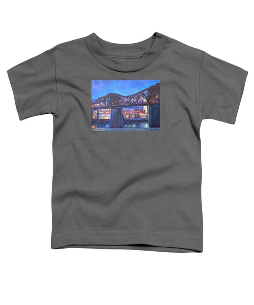 City At Night Downtown Evening Scene Original Contemporary Painting For Sale Toddler T-Shirt