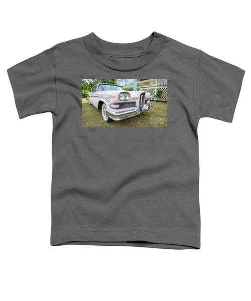 Old Pink Edsel Car In Front Of Old House Toddler T-Shirt