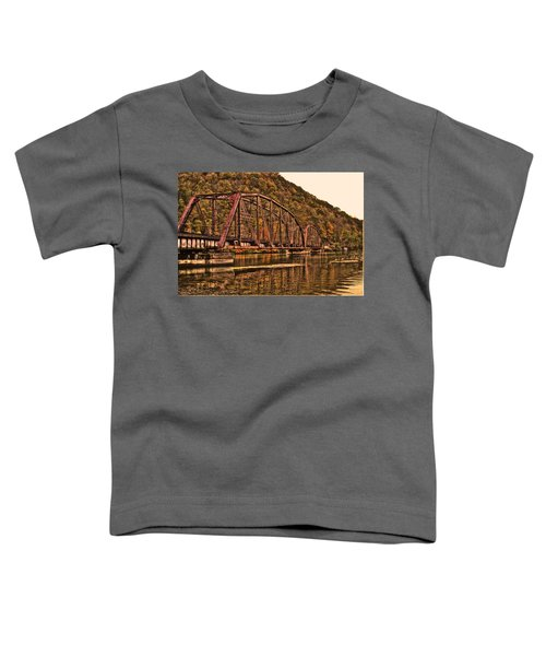 Toddler T-Shirt featuring the photograph Old Railroad Bridge With Sepia Tones by Jonny D