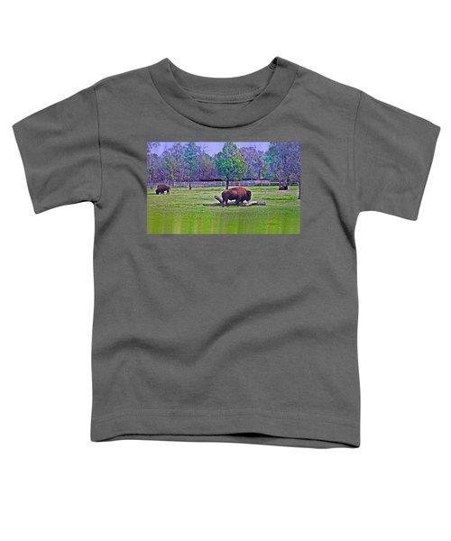 One Bison Family Toddler T-Shirt by Miroslava Jurcik