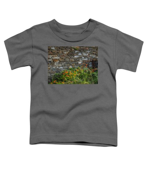 Orange Wildflowers Against Stone Wall Toddler T-Shirt