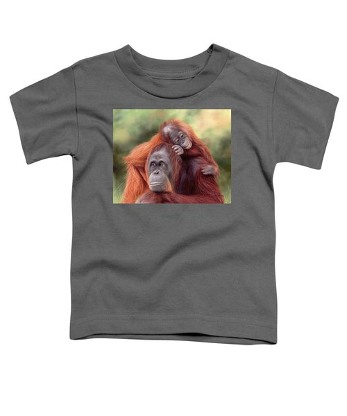 Orangutans Painting Toddler T-Shirt by Rachel Stribbling