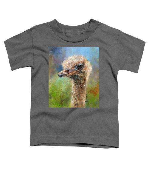 Ostrich Toddler T-Shirt by David Stribbling