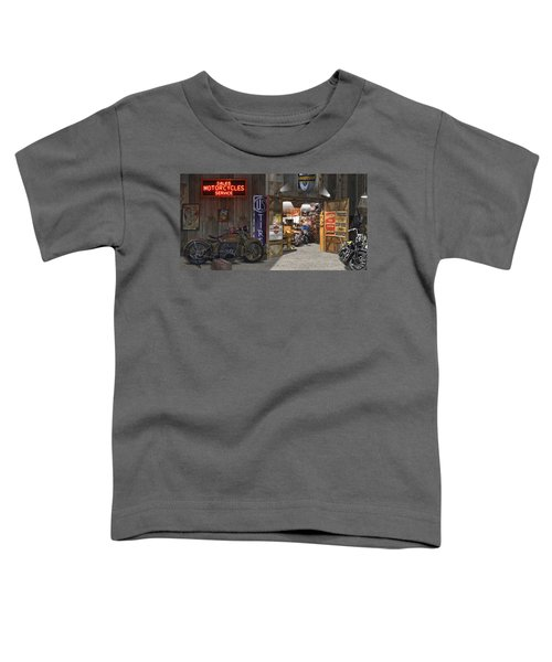 Outside The Motorcycle Shop Toddler T-Shirt