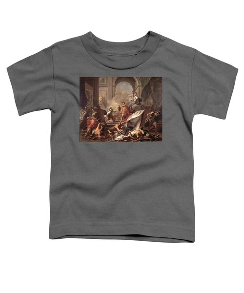 Perseus, Under The Protection Of Minerva, Turns Phineus To Stone By Brandishing The Head Of Medusa Toddler T-Shirt by Jean-Marc Nattier
