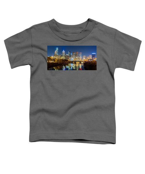 Philadelphia Cityscape Panorama By Night Toddler T-Shirt