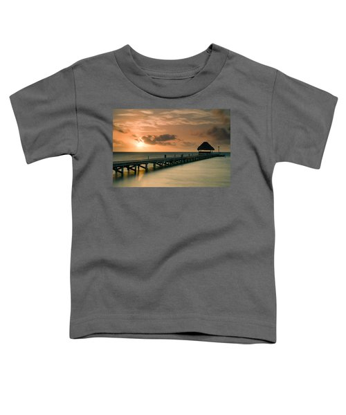 Pier With Palapa At Sunrise, Ambergris Toddler T-Shirt
