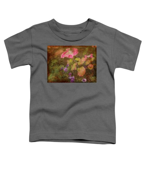 Pink Hydrangea And Purple Pansies Toddler T-Shirt
