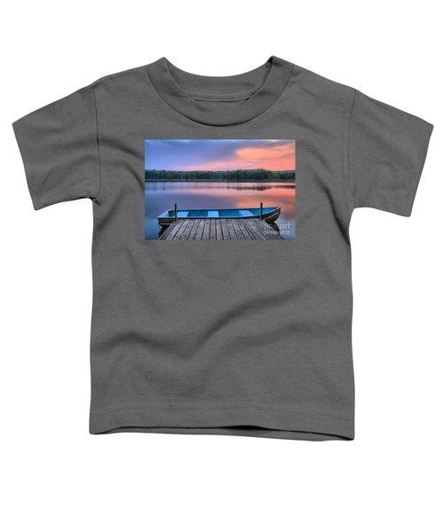 Poconos Lake Whitney Sunset Rowboat Toddler T-Shirt