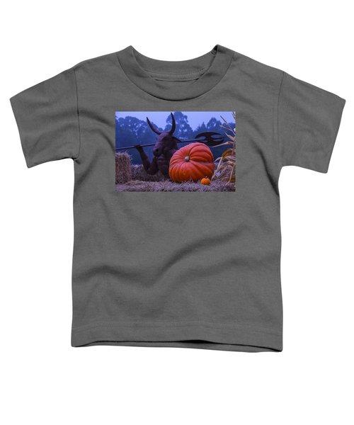 Pumpkin And Minotaur Toddler T-Shirt by Garry Gay