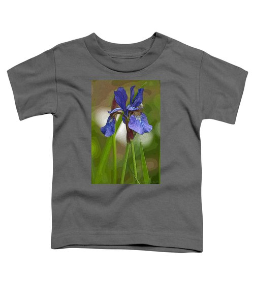 Purple Bearded Iris Watercolor With Pen Toddler T-Shirt