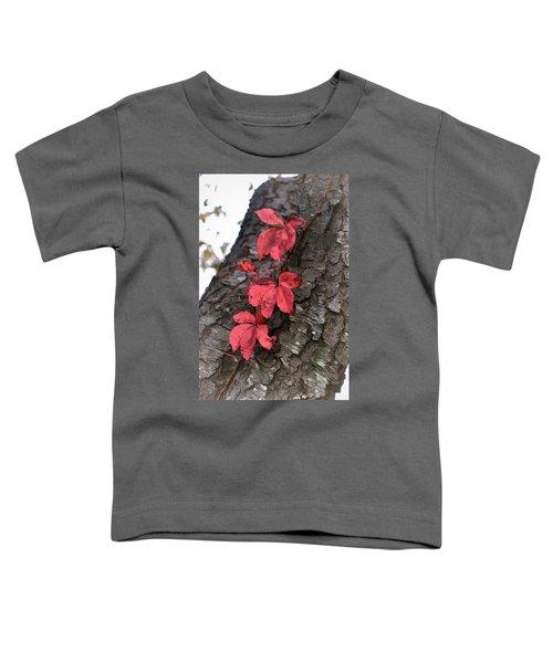 Red Leaves On Bark Toddler T-Shirt