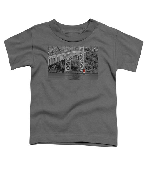 Red Lighthouse And Great Gray Bridge Bw Toddler T-Shirt