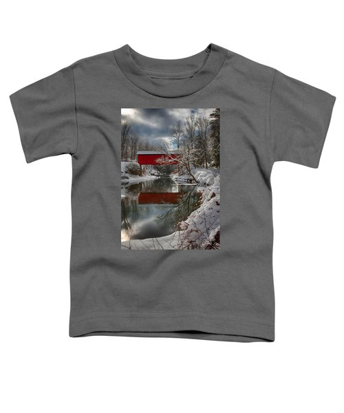 reflection of Slaughterhouse covered bridge Toddler T-Shirt