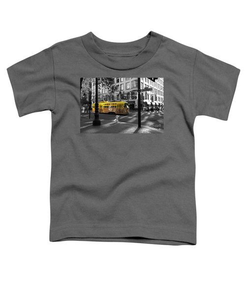 San Francisco Vintage Streetcar On Market Street - 5d19798 - Black And White And Yellow Toddler T-Shirt