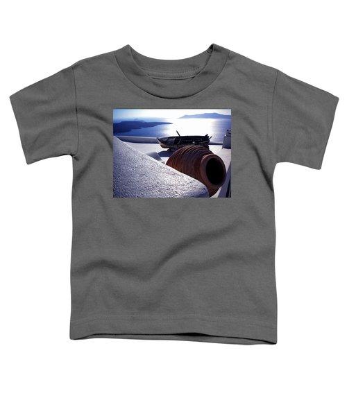 Santorini Island Early Sunset View Greece Toddler T-Shirt