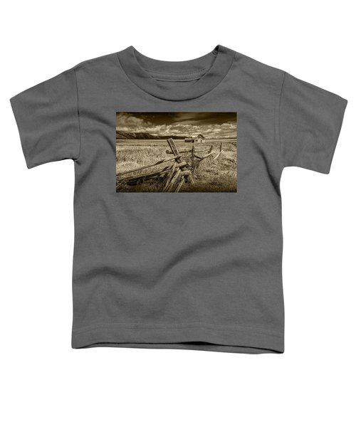 Sepia Colored Photo Of A Wood Fence By The John Moulton Farm Toddler T-Shirt