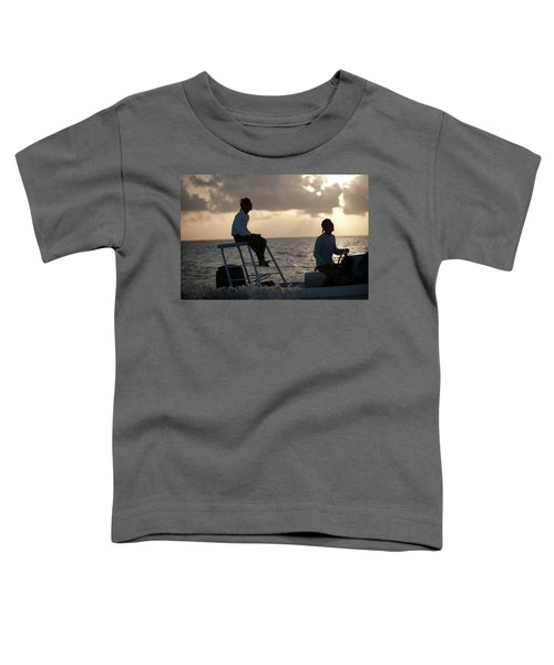 Sillouetted Man Steers Flats Boat Toddler T-Shirt