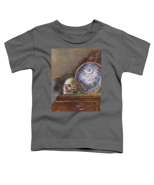 Skull And Plate Oil On Canvas Toddler T-Shirt