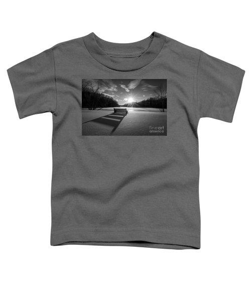 Snowy Bench Bw Toddler T-Shirt