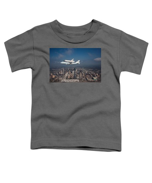 Space Shuttle Endeavour Over Houston Texas Toddler T-Shirt
