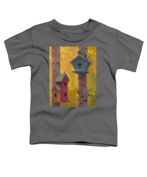 Spring Chickadees 2 - Birdhouse And Birch Forest Toddler T-Shirt