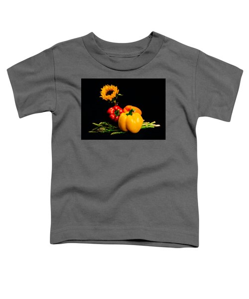Still Life Peppers Asparagus Sunflower Toddler T-Shirt by Jon Woodhams
