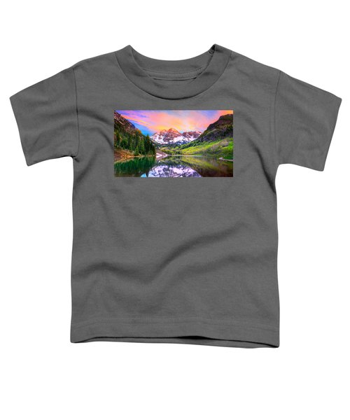 Sunset At Maroon Bells And Maroon Lake Aspen Co Toddler T-Shirt