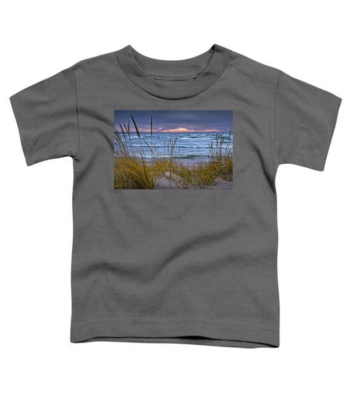 Sunset On The Beach At Lake Michigan With Dune Grass Toddler T-Shirt