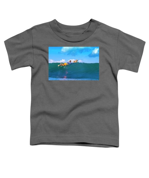 Surfer With A Dog On The Surfboard Toddler T-Shirt