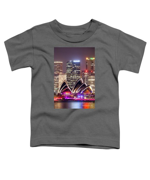 Sydney Skyline At Night With Opera House - Australia Toddler T-Shirt by Matteo Colombo
