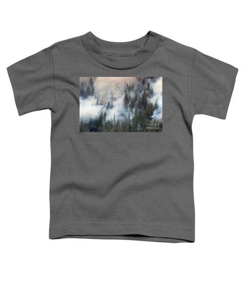 Beaver Fire Trees Swimming In Smoke Toddler T-Shirt