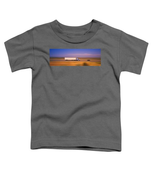 Truck And A Car Moving On A Highway Toddler T-Shirt