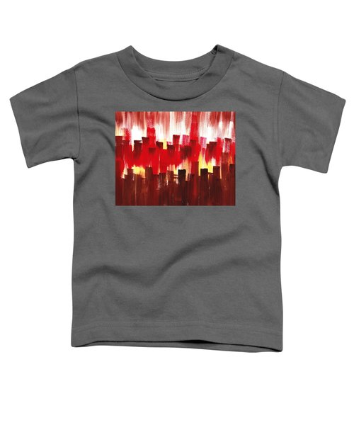 Toddler T-Shirt featuring the painting Urban Abstract Evening Lights by Irina Sztukowski