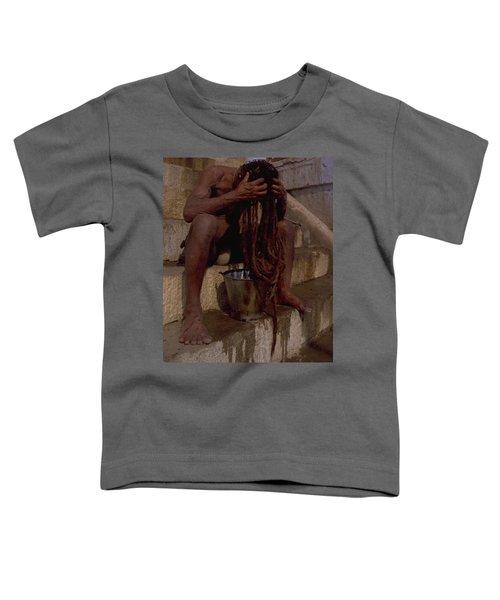 Toddler T-Shirt featuring the photograph Varanasi Hair Wash by Travel Pics