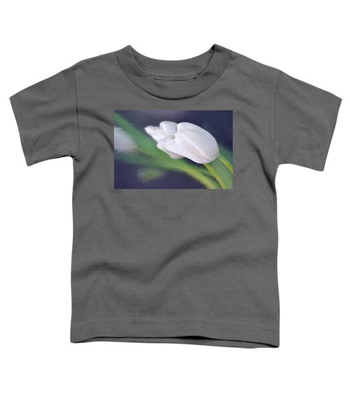 White Tulip Reflected In Dark Blue Water Toddler T-Shirt