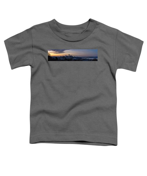 Wide Seattle Morning Skyline Toddler T-Shirt by Mike Reid