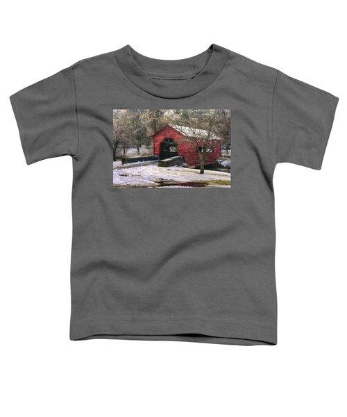 Winter Crossing In Elegance - Carroll Creek Covered Bridge - Baker Park Frederick Maryland Toddler T-Shirt