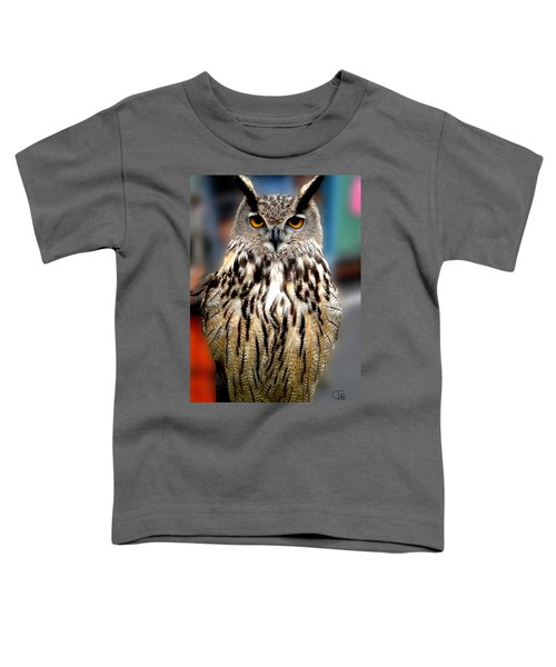 Toddler T-Shirt featuring the photograph Wise Forest Mountain Owl Spain by Colette V Hera  Guggenheim