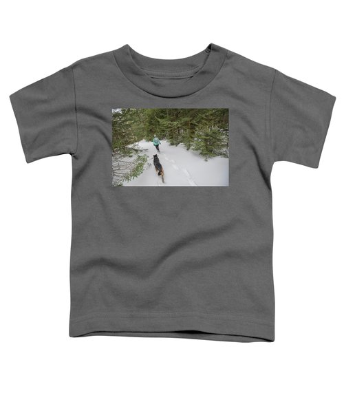 Woman And Dog Walking In Forest Toddler T-Shirt