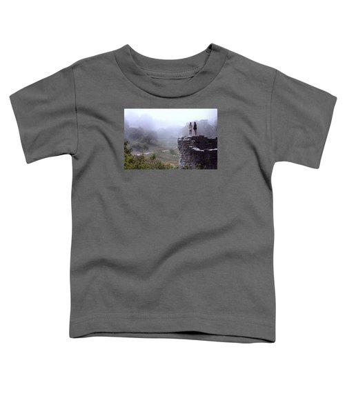 Women Overlooking Bright Foggy Valley Toddler T-Shirt