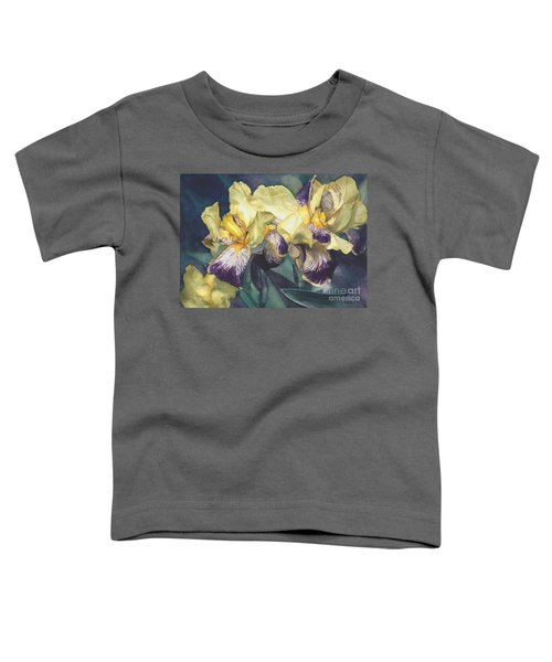 Watercolor Of A Tall Bearded Iris Painted In Yellow With Purple Veins Toddler T-Shirt