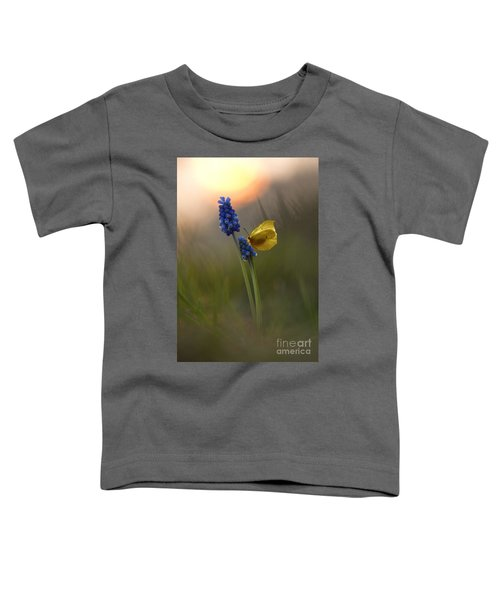 Toddler T-Shirt featuring the photograph Yellow Butterfly On Grape Hyacinths by Jaroslaw Blaminsky