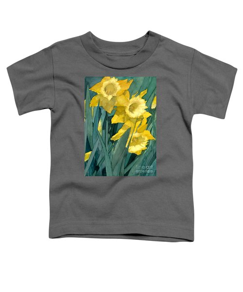 Watercolor Painting Of Blooming Yellow Daffodils Toddler T-Shirt