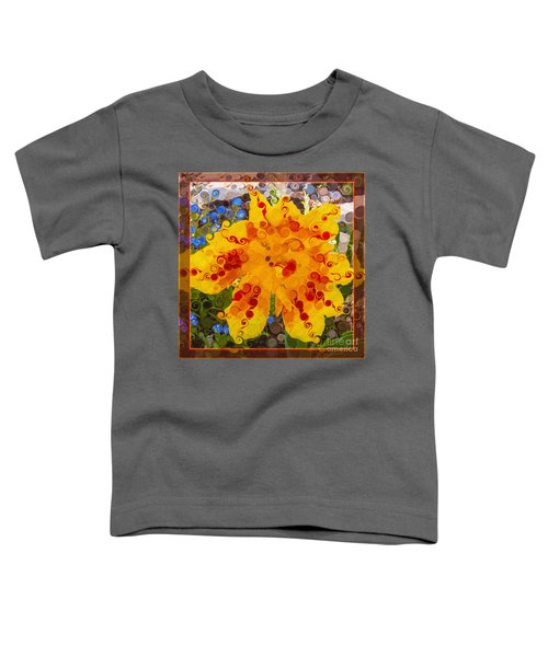 Yellow Lily With Streaks Of Red Abstract Painting Flower Art Toddler T-Shirt