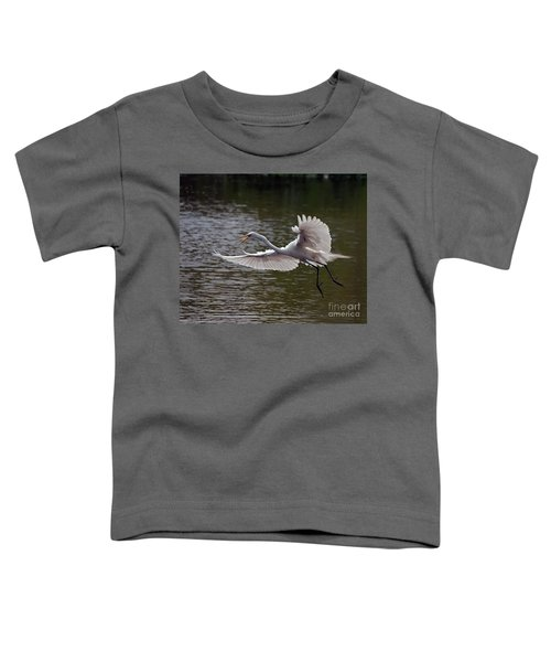 Great Egret In Flight Toddler T-Shirt