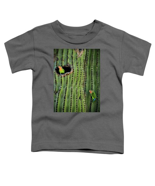 Lovebirds And The Saguaro  Toddler T-Shirt by Saija  Lehtonen