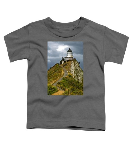 Nugget Point Light House And Dark Clouds In The Sky Toddler T-Shirt