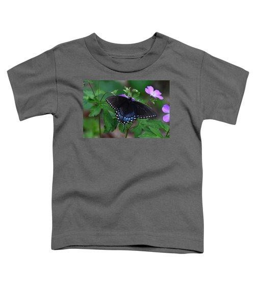 Tiger Swallowtail Female Dark Form On Wild Geranium Toddler T-Shirt